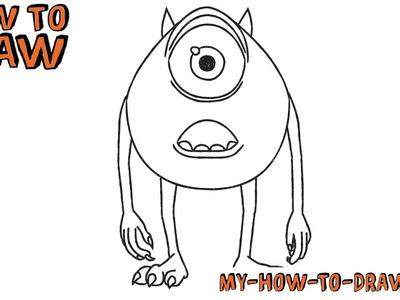 How to draw Mike Wazowski -Disney Pixar Monsters - Easy step-by-step drawing tutorial