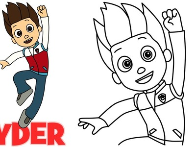 How to draw Ryder Paw Patrol characters step by step easy drawing for kids
