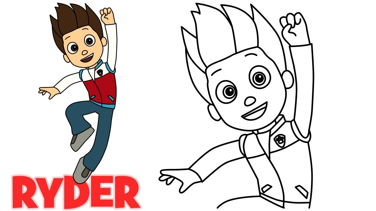 How To Draw Ryder Paw Patrol Characters Step By Step Easy