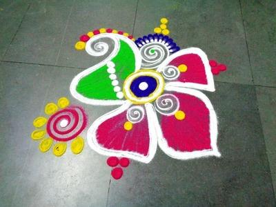 How to make fancy flower latest rangoli