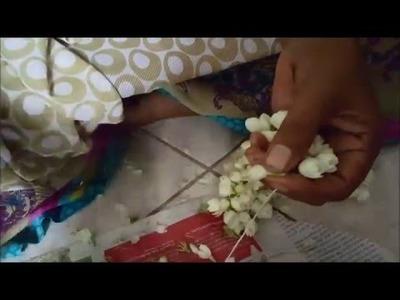 How to tie Jasmine flower garland - Basic method