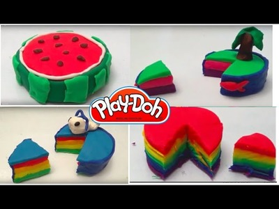 4 best play doh cakes.watermelon, Rainbow, island and whale cake by clayplayandfuntoys
