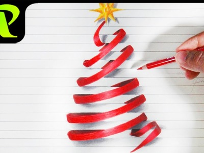 Drawing 3D Paper Illusion Christmas Tree  - Happy Christmas
