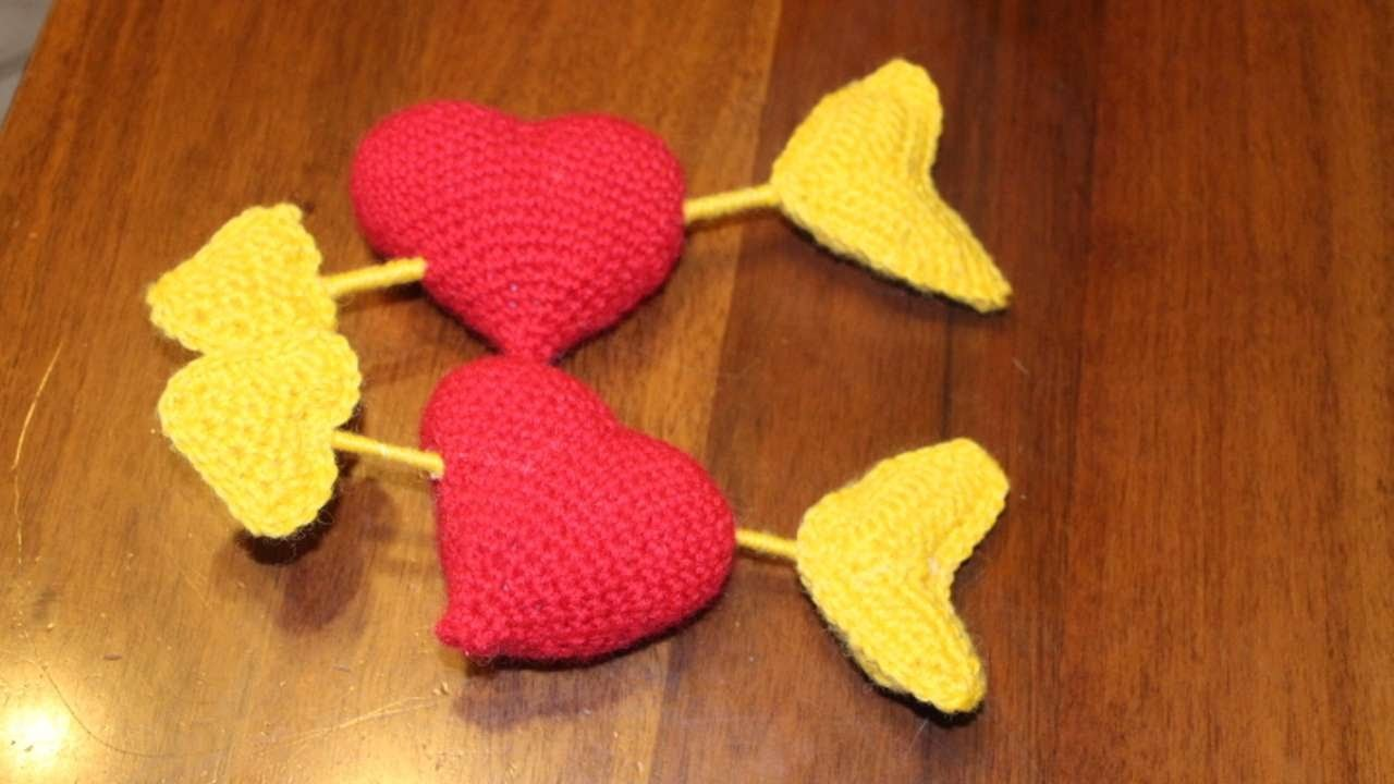 How To Crochet A Valentine Heart And Arrow - DIY Crafts Tutorial - Guidecentral