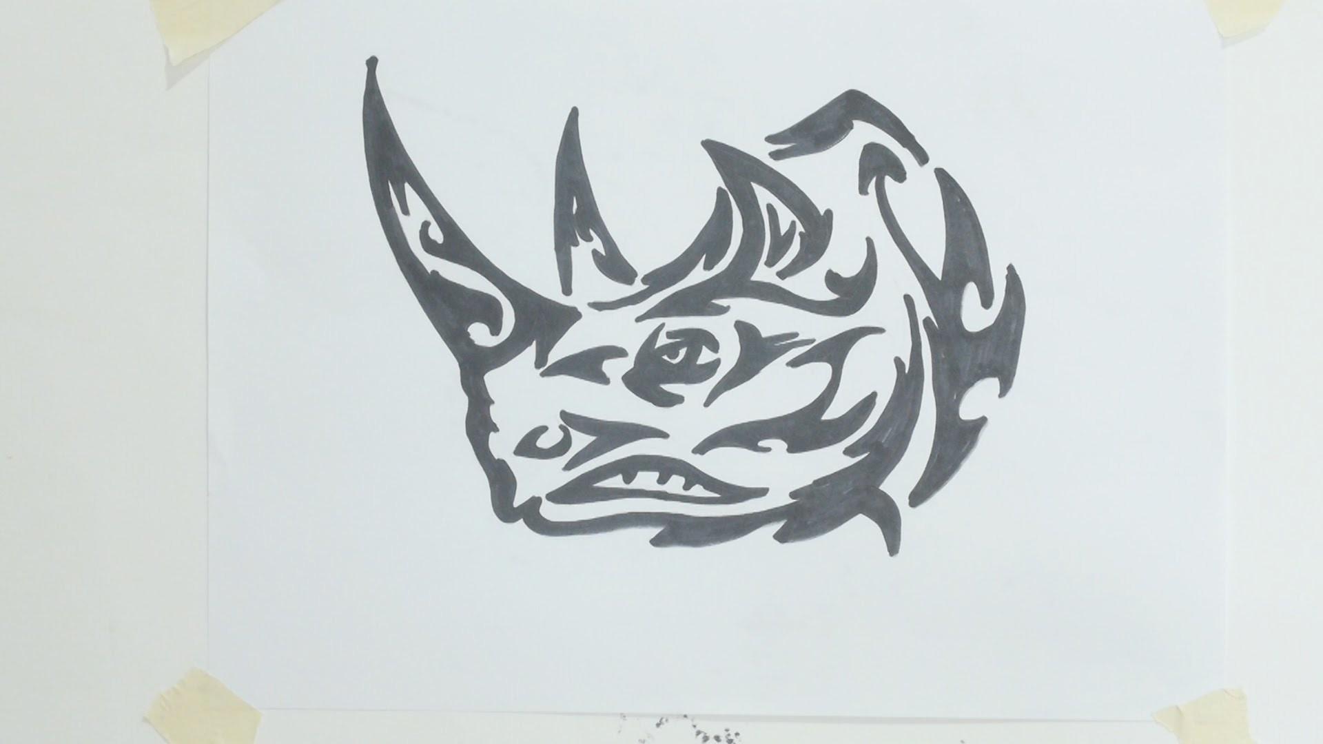 How to draw tribal rhino  tattoo
