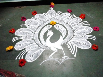 How to make white peacock rangoli
