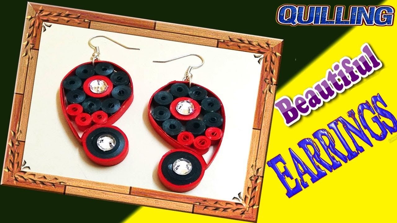 Paper Quilling; special heart shape quilling earrings for girls - quilling paper designs