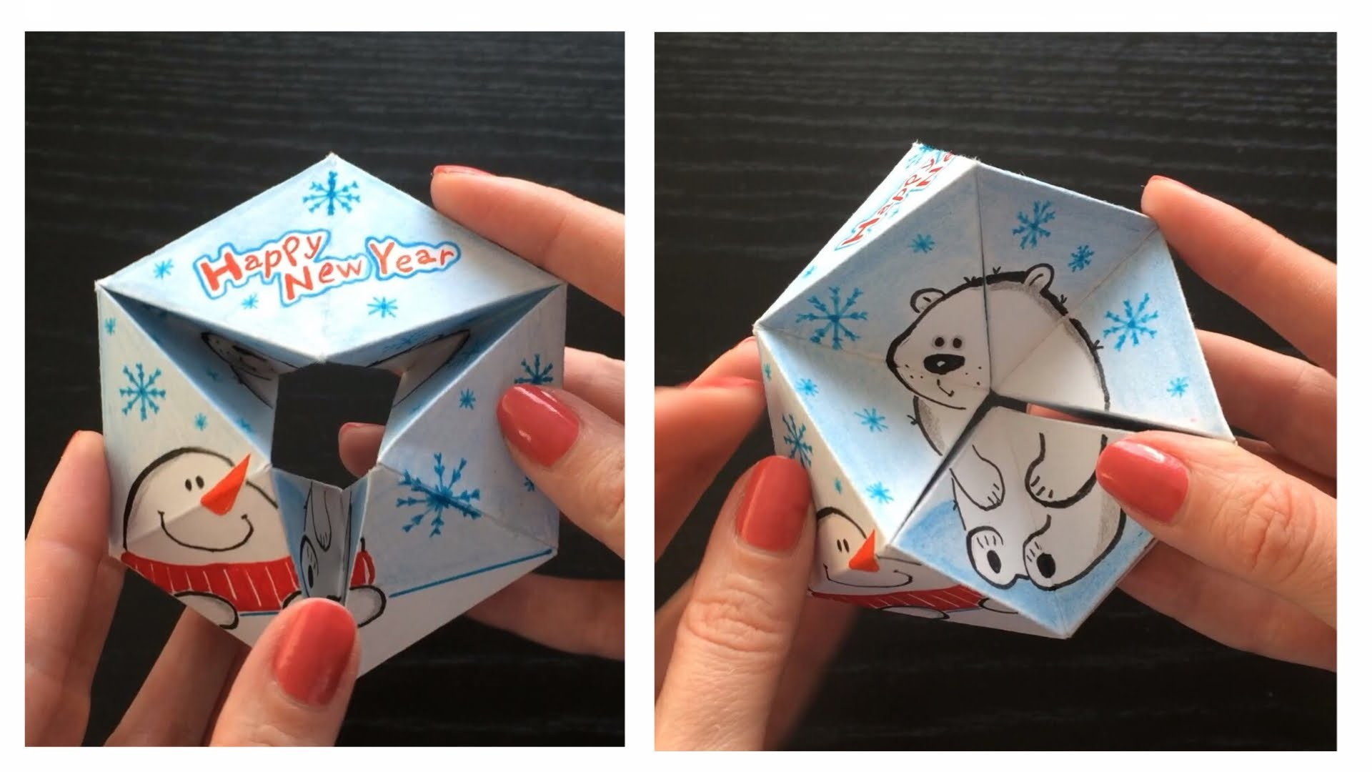 2 in 1 Paper toy & hand drawn Greeting card