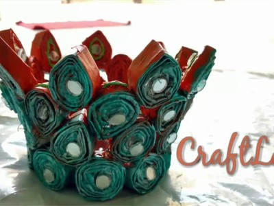 DIY Recycled Newspaper Basket Making Idea - Newspaper Craft