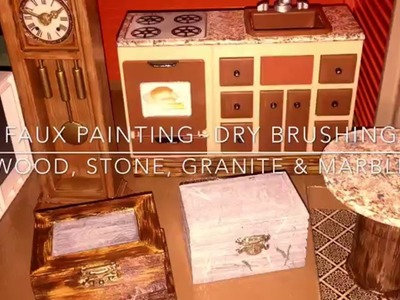 How To Do FAUX Granite Marble Wood & Stone w. Dry Brush Technique for Doll House Furniture TUTORIAL