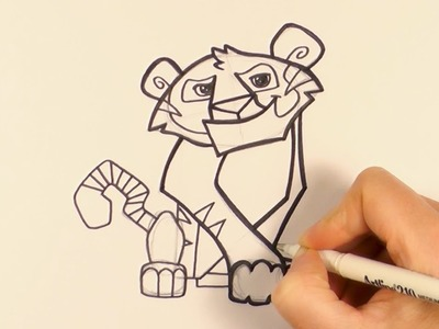 How to Draw a Cartoon Tiger From Animal Jam - zooshii Style