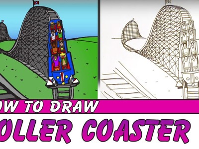 How to Draw a Roller Coaster Step by Step - Easy Art Lesson