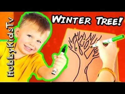 How to Draw a Winter Apple Tree! HobbyBear Helps Color w.HobbyMom HobbyKidsTV