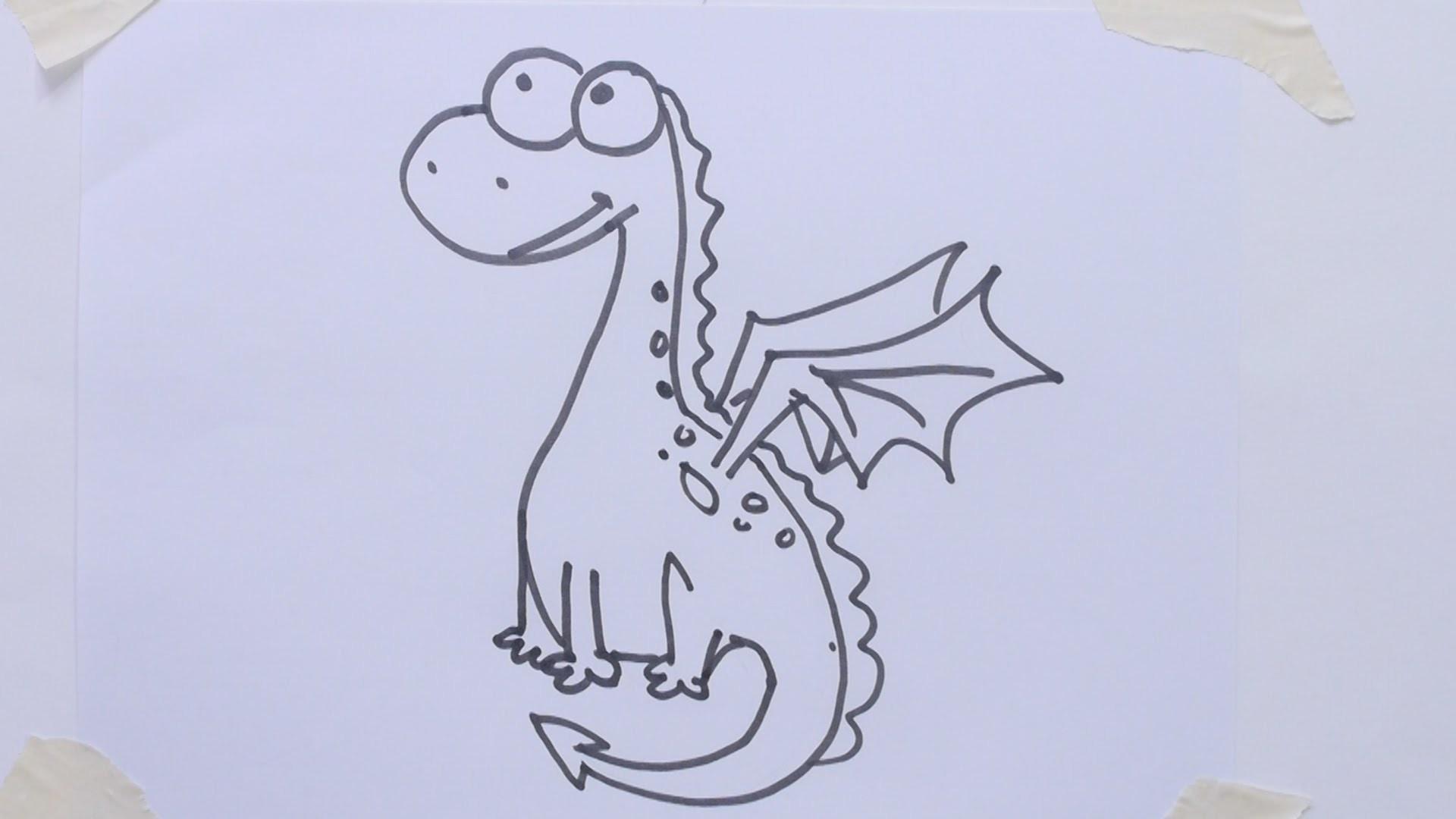 How To Draw Cartoon Dino Dragon