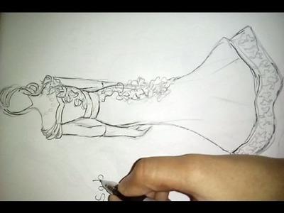 How to draw Wedding dress