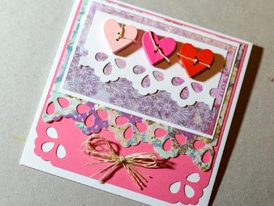 How to Make - Valentine's Day Card Greeting Card - Step by Step | Kartka Na Walentynki Serduszka