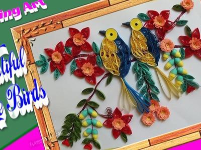 Paper Quilling : Beautiful birds sitting on tree | 3D Birds