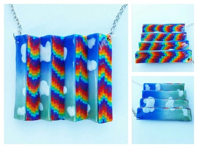 Double sided necklace rainbow bargello and clouds - polymer clay tutorial