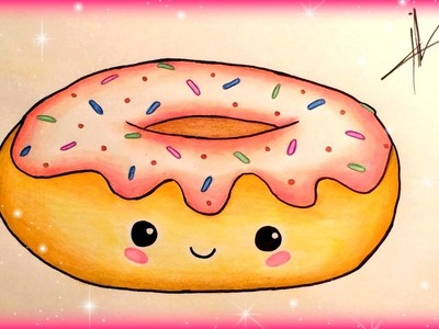 How to draw a kawaii donut easily