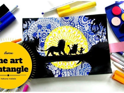 How to draw Zentangles in Silhouette Art. HAKUNA MATATA.