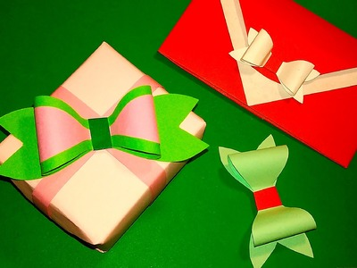 Quick paper bow. WITHOUT ribbon or wrapping paper! Gift box and envelope decorating