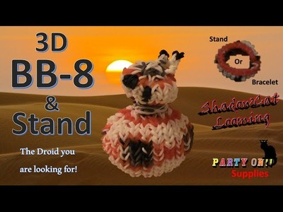 Rainbow Loom 3D Droid BB-8 and Stand.Bracelet from Star Wars - 1 Loom Board