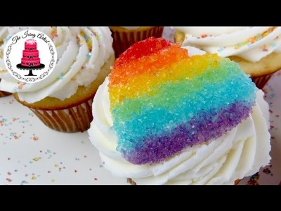 Simple Rainbow Chocolate Heart Valentines Cupcake - How To With The Icing Artist