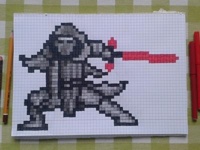 Star Wars Force Awakens Kylo Ren Pen and Paper Pixel Art Speed Drawing