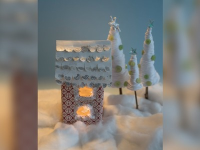 House built with milk cartons - Christmas for kids