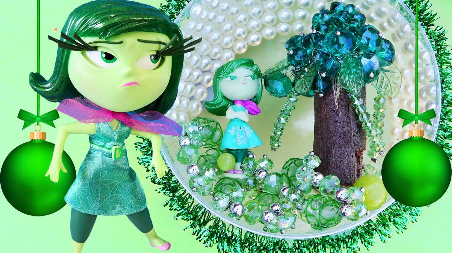 INSIDE OUT DISGUST CHRISTMAS Broccoli Tree Bauble Ornament Make Your Own Decorations Beads Gems