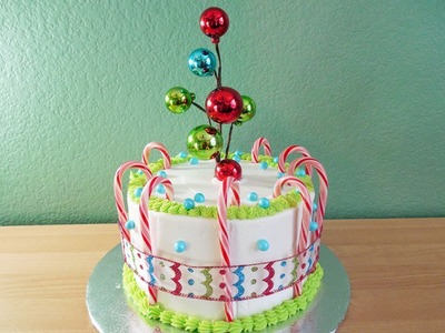 Make a Candy Cane Ornament Ribbon Christmas Cake with Jill