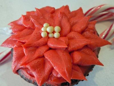 Make Poinsettia Christmas Holiday Cupcakes with Jill