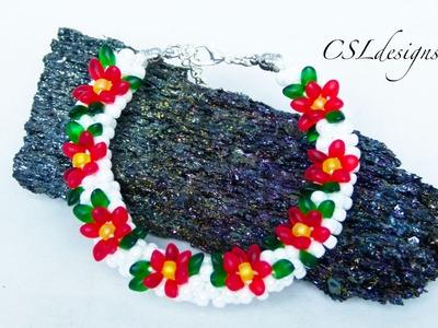 Poinsettia beaded kumihimo bracelet ⎮ Christmas
