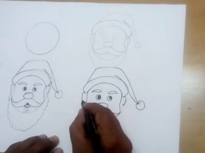 Santa claus drawing for christmas | step by step easy turorial for kids