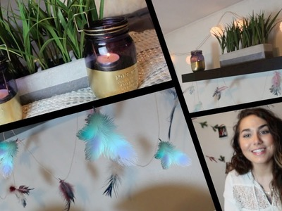 DIY Boho Room Decor! | Feather garland & gold mason jars