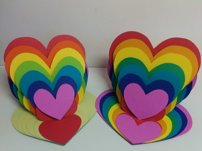 Art and Craft: How to make Rainbow Heart Card. Heart Easel Card