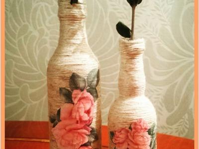 Decoupage yarn bottle decorations DIY craft ideas tutorial. URADI SAM
