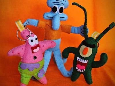 DIY Felt Craft Tutorial - How To Make Spongebob Keychain - 스폰지 밥은 튜토리얼을 느꼈다 - Plankton Keychain