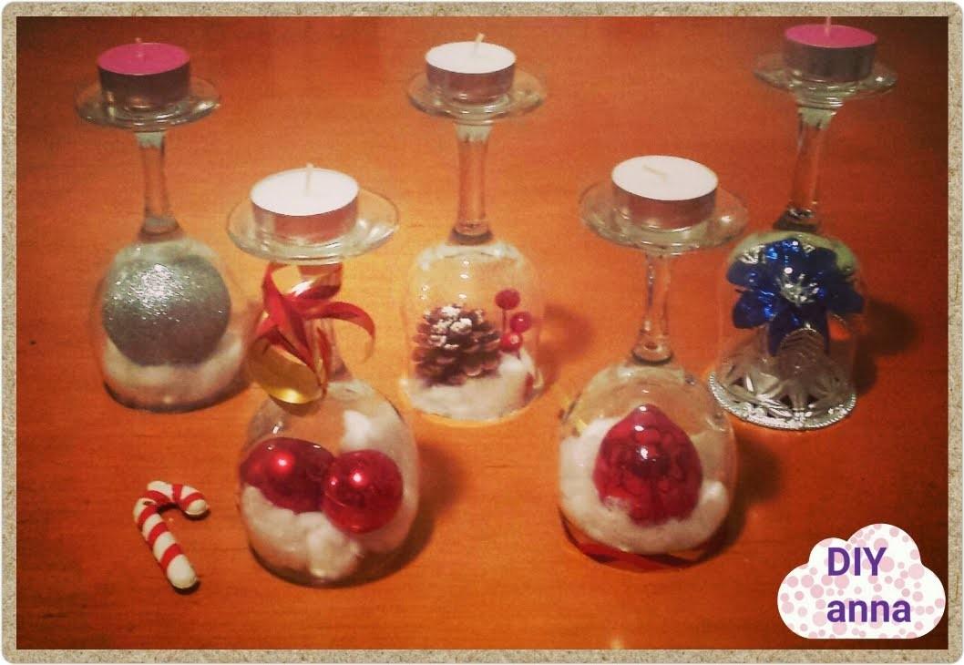 Easter and christmas decorations candle holder vine glasses DIY craft ideas tutorial. URADI SAM