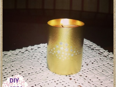 Gold spray glass candle holder DIY craft ideas tutorial. URADI SAM