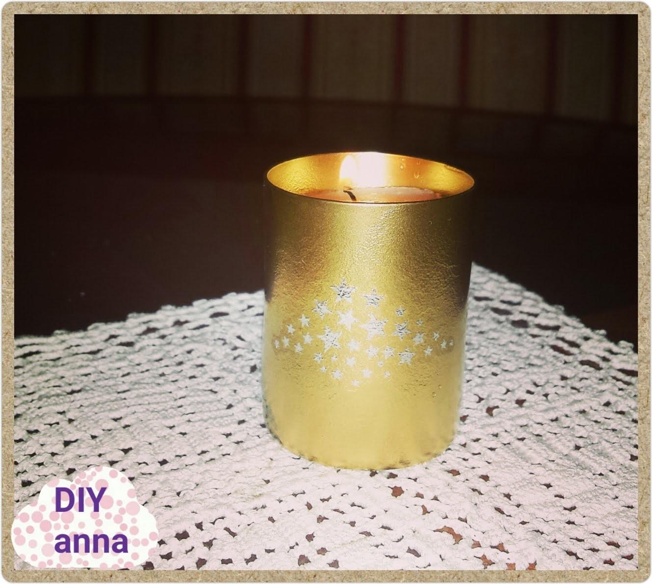 Gold spray glass candle holder DIY craft ideas tutorial. URADI SAM