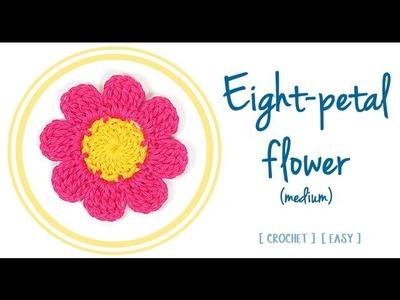 HOW TO CROCHET AN EIGHT-PETAL FLOWER (#1 - medium) | Patrones Valhalla ENG