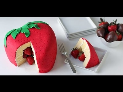 How to DIY Strawberry Surprise Cake - Strawberry Cake recipe .