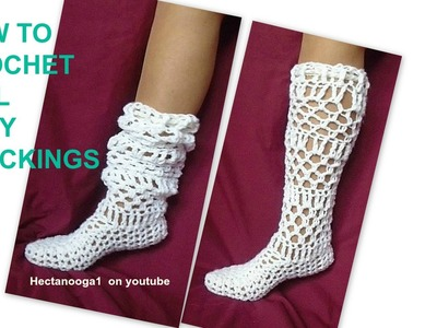 How to crochet Lacy Long Stockings, Adult small, also fits age 12 to 16
