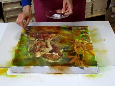 Mixed media. decoupage tutorial for beginners - DIY.  How to make Art Mixed Media painting.