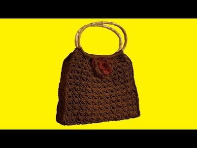 """Borsa all'uncinetto cordino thai & punto peruviano - crochet bag """"Broomstick stitch """""""