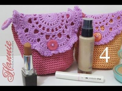 Crochet || Tutorial Tas Kecil Cantik (Resleting + Furing) - Make Up Mini Bag (Part 4)