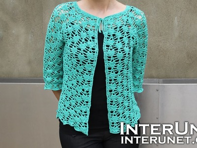 Front tie lace cardigan crochet pattern. Part 2 of 2