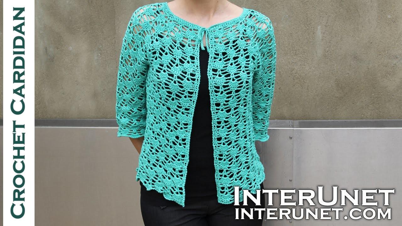 Front tie lace cardigan crochet pattern. Part 2 of 2