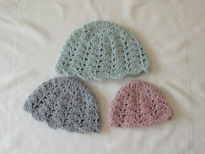 How to crochet an easy shell stitch hat - all sizes (baby to adult)
